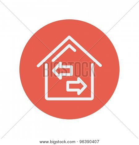 House with left and right arrow thin line icon for web and mobile minimalistic flat design. Vector white icon inside the red circle