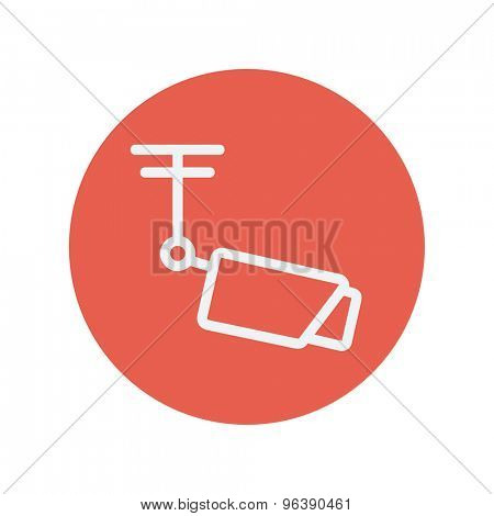 Rooftop antenna thin line icon for web and mobile minimalistic flat design. Vector white icon inside the red circle