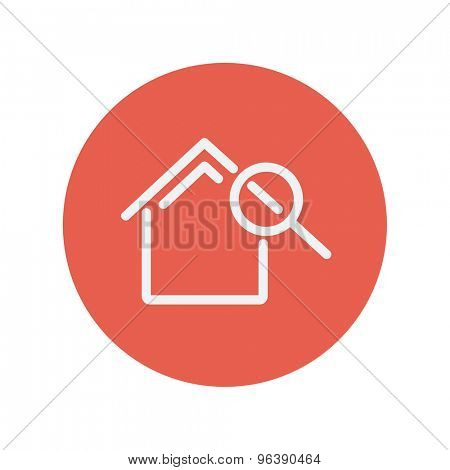 House and magnifying glass thin line icon for web and mobile minimalistic flat design. Vector white icon inside the red circle