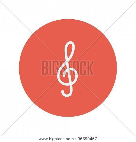 G-clef thin line icon for web and mobile minimalistic flat design. Vector white icon inside the red circle