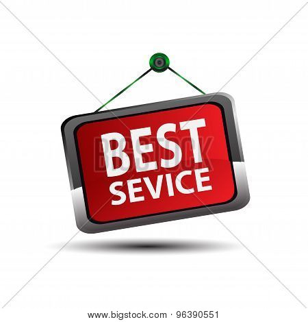 Red best service sign label