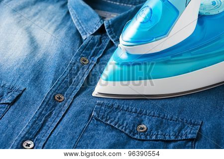 Ironing Blue Jean Shirt