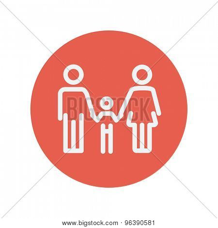 Family thin line icon for web and mobile minimalistic flat design. Vector white icon inside the red circle