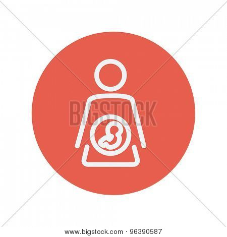 Baby fetus in mother womb thin line icon for web and mobile minimalistic flat design. Vector white icon inside the red circle