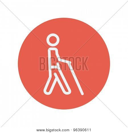 Man with stick thin line icon for web and mobile minimalistic flat design. Vector white icon inside the red circle