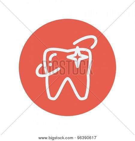 Shining tooth thin line icon for web and mobile minimalistic flat design. Vector white icon inside the red circle