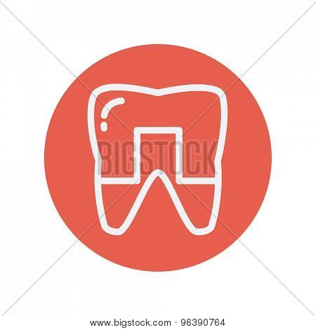 Crowned tooth thin line icon for web and mobile minimalistic flat design. Vector white icon inside the red circle
