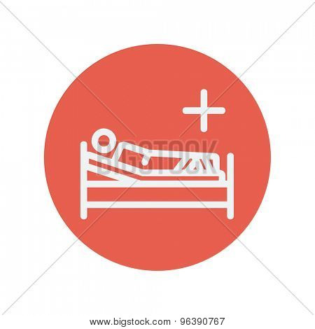 Patient is lying on medical bed thin line icon for web and mobile minimalistic flat design. Vector white icon inside the red circle