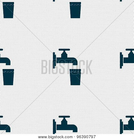Faucet, Glass, Water Icon Sign. Seamless Pattern With Geometric Texture. Vector