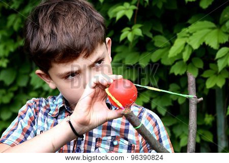 Boy With Turnpike Aiming To The Target