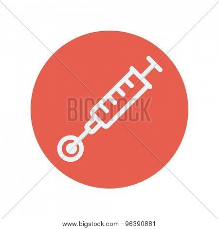 Injection thin line icon for web and mobile minimalistic flat design. Vector white icon inside the red circle