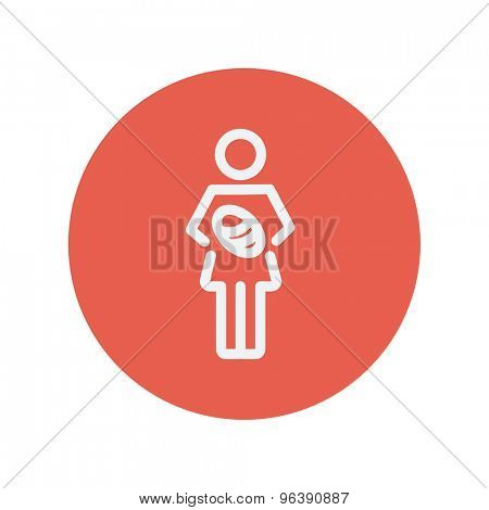 Mother breastfeeding her baby thin line icon for web and mobile minimalistic flat design. Vector white icon inside the red circle