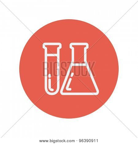 Test tube and beaker thin line icon Medical symbol thin line icon for web and mobile minimalistic flat design. Vector white icon inside the red circle.