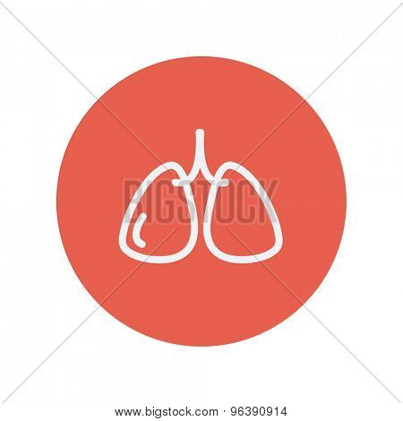 Lungs thin line icon thin line icon for web and mobile minimalistic flat design. Vector white icon inside the red circle.