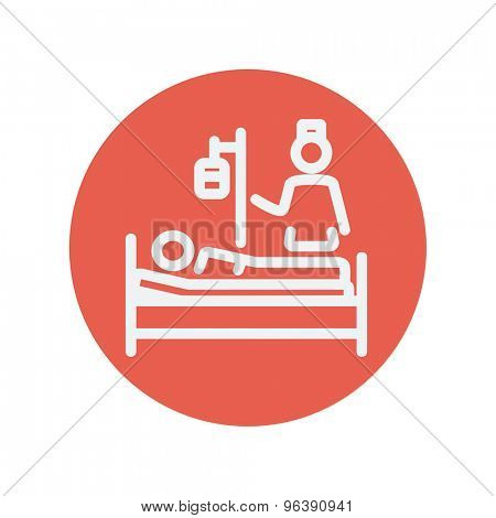 Nurse attending a sick patient thin line icon for web and mobile minimalistic flat design. Vector white icon inside the red circle