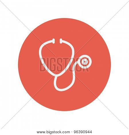 Stetoscope thin line icon Medical symbol thin line icon for web and mobile minimalistic flat design. Vector white icon inside the red circle.