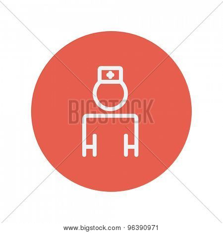 Nurse thin line icon for web and mobile minimalistic flat design. Vector white icon inside the red circle.