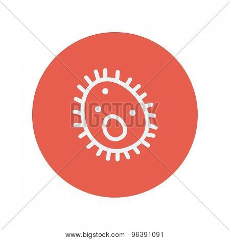 Bacteria thin line icon for web and mobile minimalistic flat design. Vector white icon inside the red circle.