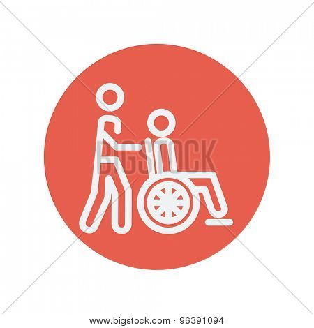 Nursing care thin line icon for web and mobile minimalistic flat design. Vector white icon inside the red circle