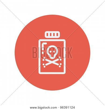 Bottle of poison thin line icon for web and mobile minimalistic flat design. Vector white icon inside the red circle.
