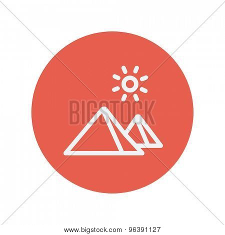 Mountain and sun thin line icon for web and mobile minimalistic flat design. Vector white icon inside the red circle.