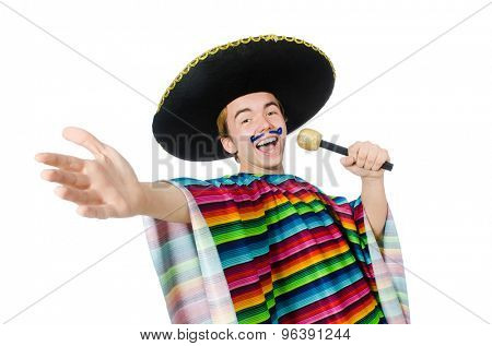 Funny young mexican sings isolated on white
