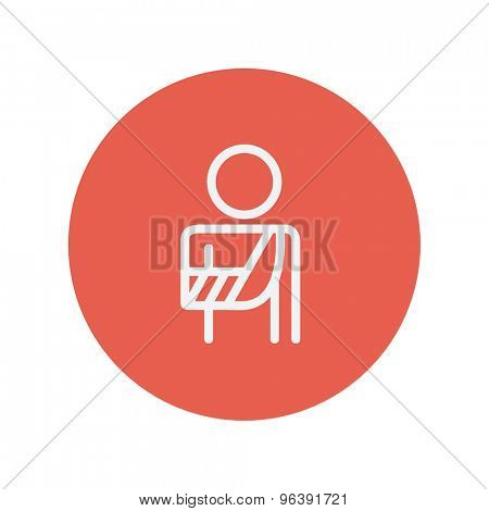 Injured man with bandages thin line icon for web and mobile minimalistic flat design. Vector white icon inside the red circle.