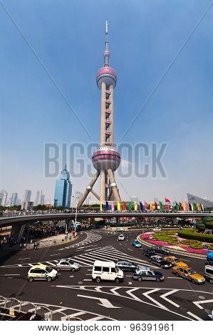 Skyline and traffic at Pudong district of Shanghai