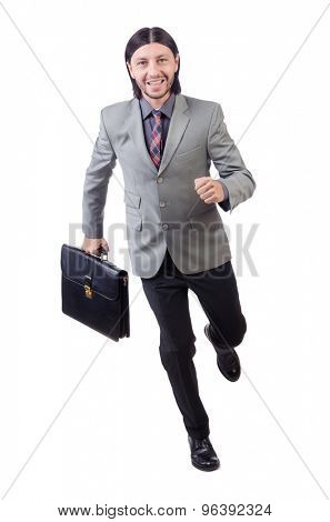 Young businessman in gray suit isolated on white