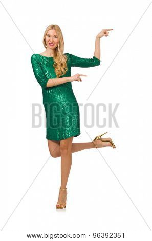 Blond hair girl in sparkling green dress isolated on white