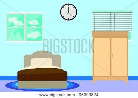 Bed room design vector.