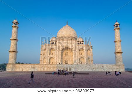 AGRA, INDIA - 28 FEBRUARY 2015: View of Taj Mahal from East side.