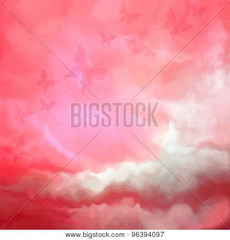 Beautiful Red Sky Drawing With Butterflies