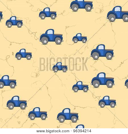 Seamless Cars Pattern Scattered On Yellow Background