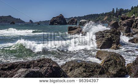 Waves Crashing on a Rocky Coast