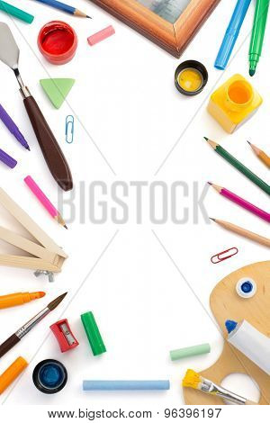 paint supplies isolated on white background