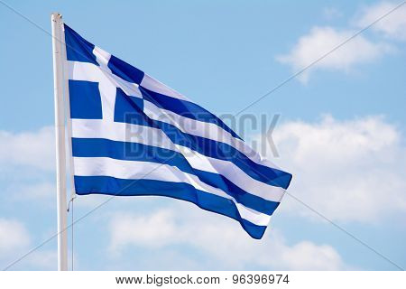 Greek flag waving on the wind