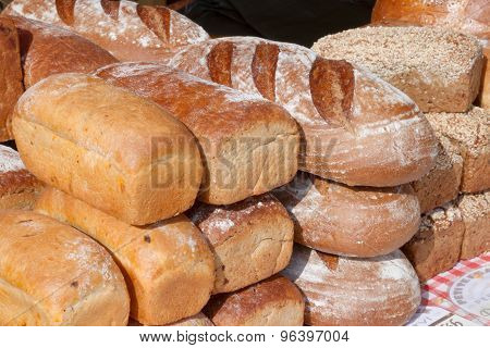 Fresh Loaf Of Bread At A Farmers Market