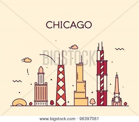 Chicago City skyline Trendy vector line art