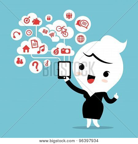 Business Woman With Smartphone Device Cloud Social Network