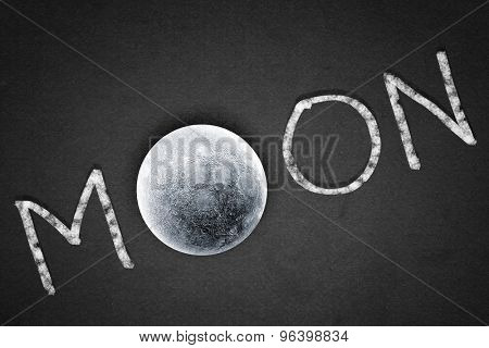 Word moon with moon planet instead of one letter