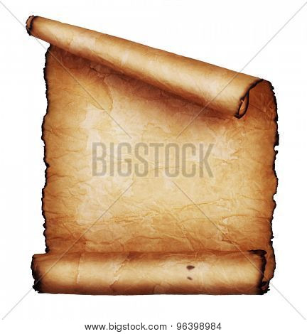 Ancient scroll isolated on white background