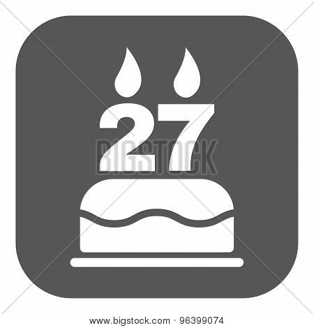 The birthday cake with candles in the form of number 27 icon. Birthday symbol. Flat