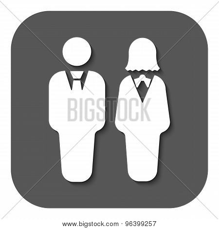 The man and woman icon. Partners And Human symbol. Flat