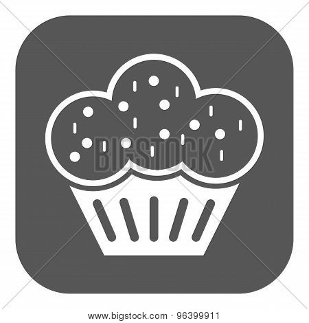 The muffin icon. Dessert and baked, cake, bakery symbol. Flat
