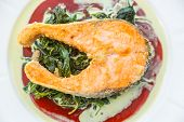 foto of salmon steak  - Grilled Salmon Steak with Spinach - JPG