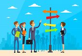 ������, ������: Businesspeople Standing Sign Choose Direction Way Signboard