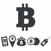 picture of bitcoin  - Black icons with different bitcoin usage on white background - JPG