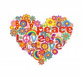 picture of hippy  - Heart shape with colorful flowers and hippie symbolic - JPG