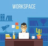 Man at work. Man in suit in office room. Creative flat design interior, workplace, workspace concept poster